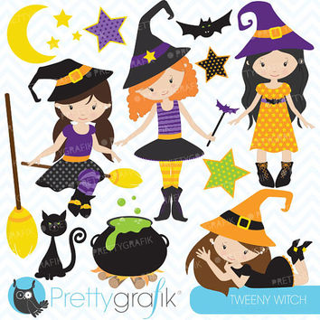 Halloween witches clipart, commercial use, vector graphics, digital clip art, digital images - CL551