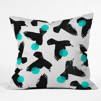 Elisabeth Fredriksson Birds II Blue Throw Pillow