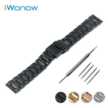 Stainless Steel Watch Band 16mm 18mm 20mm 22mm 24mm for Fossil Safety Buckle Strap Wrist Belt Bracelet Black Rose Gold Silver