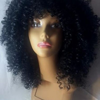 African American Wigs Black Med Capless Fashion Shaggy Kinky Curly Synthetic Wig