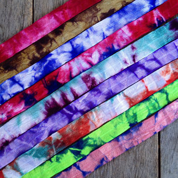 "9 Yards of Tie Dye 5/8"" Fold Over Elastic - 1 Yard of Each Color - FOE Elastic"