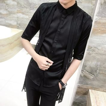 Long Pleated Shirt Black White Solid Color Men Dress Shirt Slim Fit Gothic Shirt
