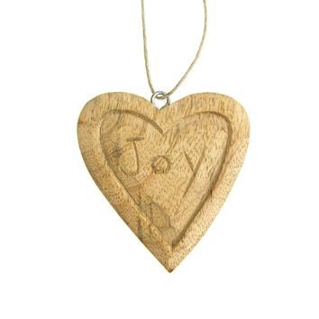 "Hanging ""Joy"" Carved Heart Christmas Tree Ornament, Natural, 3-1/2-Inch"
