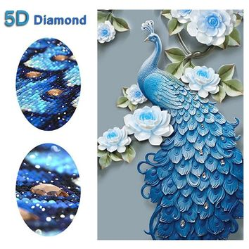 5D Diamond Painting Full Diamond Blue Peacock Entrance Three-dimensional Cross Stitch Living Room Is Simple and Modern Floral De