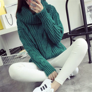 Fashion women new Autumn winter Turtleneck sweater big size Hemp flowers pattern