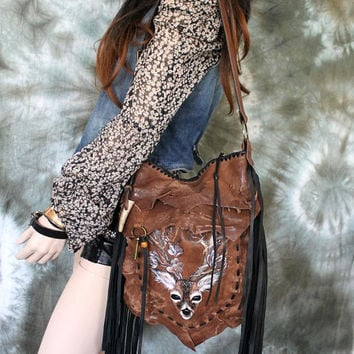 Hazelnut autumn leather bag handpainted deer hobo tribal  bohemian boho festival  purse sweet smoke free people distressed bag moroccan