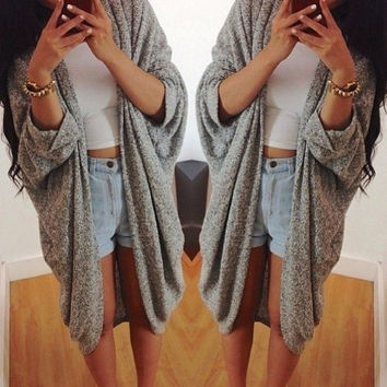 New Women Casual Oversized Knit Sleeve Sweater Coat Polyamide Cardigan Jacket = 1920247364