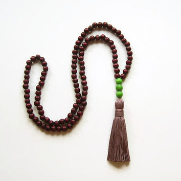 Long necklace tassel jewelry, Long wooden necklace burgundy jewelry, Marsala necklace wood bead necklace tassel necklace
