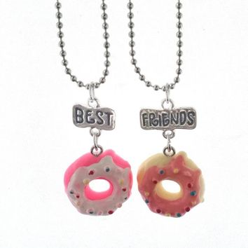 10 Set/Lot  Cute Resin Cake Donuts Best Friends BFF Necklace Pendant Two Piece Set For Boy's and Girls BFF