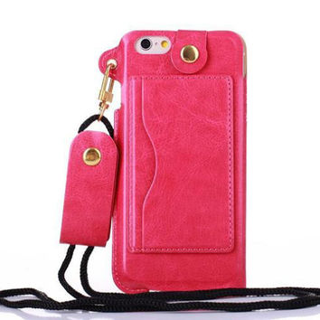 Luxury Fashion Long Neck Strap Rope Chain Leather Phone Case Cover For Iphone  7 6 6S 6ef21251f