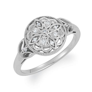 Vintage Style Sterling Silver .06 Ctw H-I, I2 Diamond Flower Ring