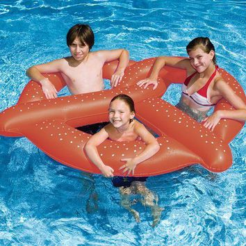VOND4H 60' Water Sports Inflatable Swimming Pool 3-Person Giant Pretzel Float