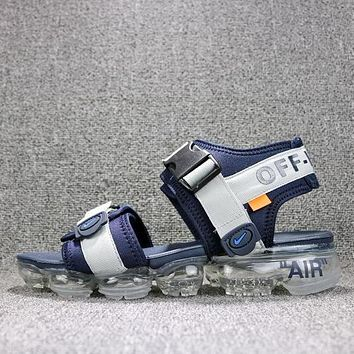Off White x Nike Air VaporMax Sandals Blue White Slides 850588-003 Flip Flops