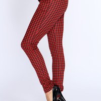 Red Black Houndtooth Print Pants