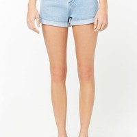 Cuffed & Creased Denim Shorts