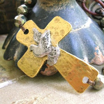 Sideways cross bracelet - Inner Faith - peace dove, gold hammered cross, pyrite, boho luxe leather bracelet sundance bohemian jewelry