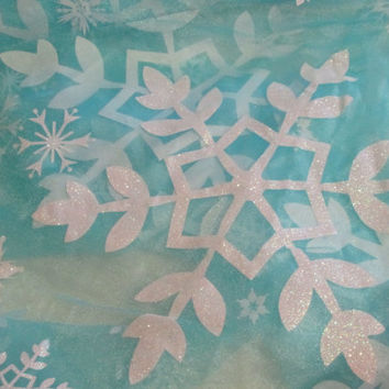 Frozen Fabric Queen Elsa Large Snowflake Aurora Borealis Blue Organza Disney Fabric with Large Snowflakes Cape and Costume By The Yard