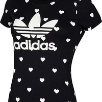 DCCK6HW Adidas' Women Sports Casual Heart-shaped Print Short Sleeve Bodycon T-shirt Tops