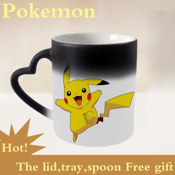 Creative Gift Cartoon Pokemon Mugs White Change Colovr Cup Bika Qiu Pocket Monster with Lid Handgrip Tray Discoloration Cup Fun