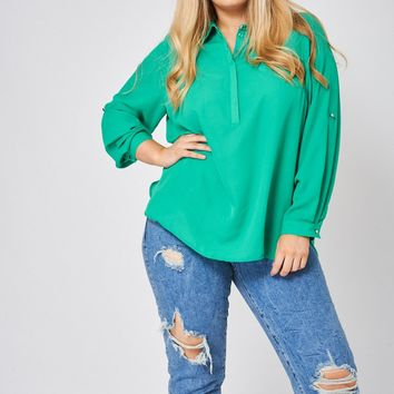 Roll-Up Sleeves Shirt In Green Ex-Branded