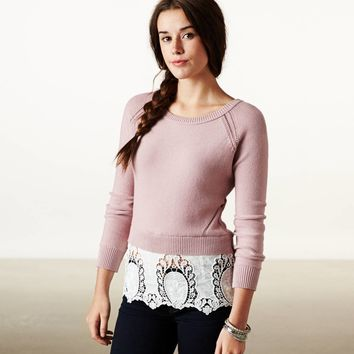 AE Lace Hem Crew Sweater | American Eagle Outfitters