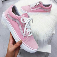 """Vans"" With Warm Casual Shoes Men and women classic black cloth shoes Pink(braid line)"
