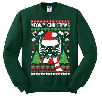 Meowy cat Ugly Christmas Sweater sweatshirt unisex adults size S-2XL
