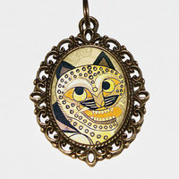 Horangi Tiger Necklace, Korean Tiger, Korean Folk Jewelry, Ancient Tiger, Oval Pendant