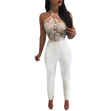 2017 Fashion Lace  Jumpsuit rompers womens Slim Fit Party Playsuit Ladies Sexy Sleeveless Long Jumpsuit overalls body feminino