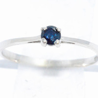 3mm Genuine Blue Sapphire Round Ring .925 Sterling Silver Rhodium Finish White Gold Quality