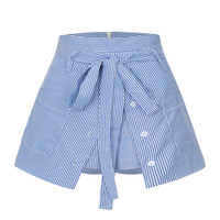 Blue Stripe High Waist Pocket Paneled Cullotes