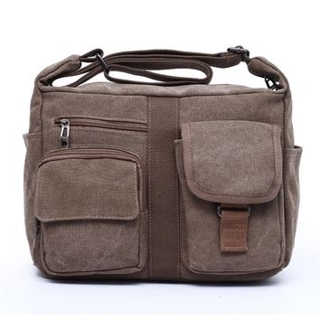 Streetstyle  Casual Men Canvas Messenger Shoulder Crossbody Bag