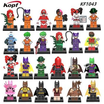 Joker Fairy Tartan Pajamas Batman Poison Ivy Red Hood Mr. Freeze Calendar Man Two-Face Batgirl Building Blocks Kids Toys KF1043