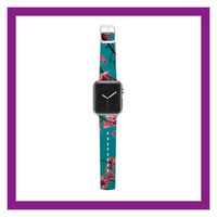 "Ann Barnes ""Dreaming In Pink"" Blue Pink Apple Watch Strap"