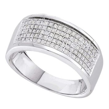 Sterling Silver Women's Round Diamond Five Row Wedding Band 1-3 Cttw - FREE Shipping (US/CAN)