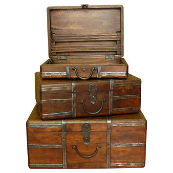Asst. of 3 Lorcan Travel Trunks, Decorative Bins, Baskets & Crates