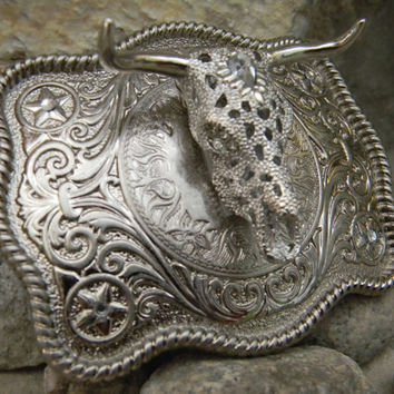 Silver Rhinestone Cow Skull Belt Buckle, Steer Head Western Belt Buckle, Lonestar Belt Buckle, Western Engraved Mens Womens Kids