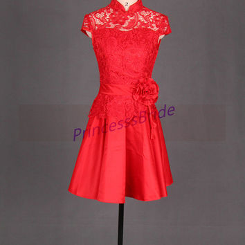 2014 short red lace and satin prom dresses,Chinese cheongsam bridesmaid dress hot,cheap vintage gowns for homecoming party.