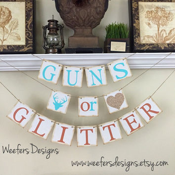 Guns or Glitter Banner, Gender Reveal banner, Rustic Baby Shower Decor, Baby Shower Decorations, Rustic Brown, Gender Reveal Ideas
