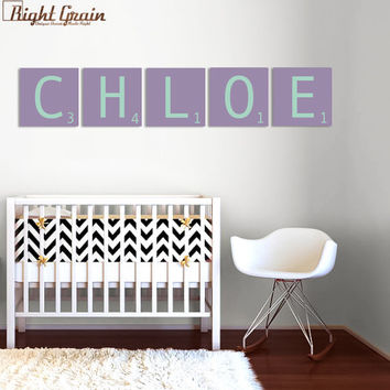 Giant Scrabble Letters - Girls Room Decor You Pick Colors - FIVE 12x12 Tiles