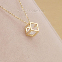 Cube Necklace Rose Gold,Rose Gold Necklace