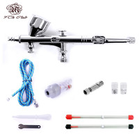 Mini Dual Action Airbrush Comperssor Kit 0.2/0.3/0.5mm Needle Air Brush Spray Gun For  Makeup Model Nail Body Paint Art SP180K