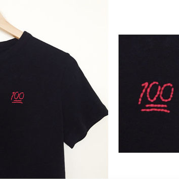 hand embroidered one hundred emoji / 100 emoji black short sleeve shirt