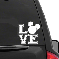 Auto Sticker - Auto Decal MICKEY MOUSE EARS LOVE Vinyl Decal Sticker DISNEY for Car Truck SUV Boat Trailer Laptop iPad
