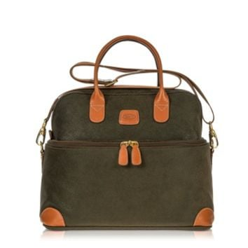 Bric's Designer Travel Bags Life - Olive Green Micro Suede Beauty Case Bag