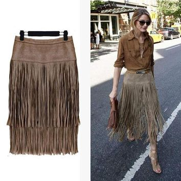CREYHY3 Fashion 2015 New Heavy Hierarchical High Waist Straight Leather Skirt Fringed Suede Tassel Saias Skirts Womens S~2XL