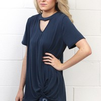 Keyhole Get Twisted Cupro Modal S/L {Navy}