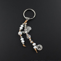 Beaded Boho White Crystal Angel Keychain - Lutheran Gifts, Christian Gifts, Catholic Gifts, Religious Gifts For Women Under 20 Dollars