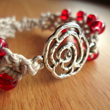 Rose Bracelet, Macrame Jewelry, Red Rose Bracelet, Boho Hemp Jewelry - 100% Natural - Adjustable