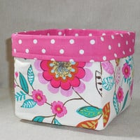 Lovely Bright Colored Floral Fabric Basket